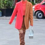 Ashley Roberts in a Two Toned Blazer Leaves the Global Radio Studios in London 10/13/2021