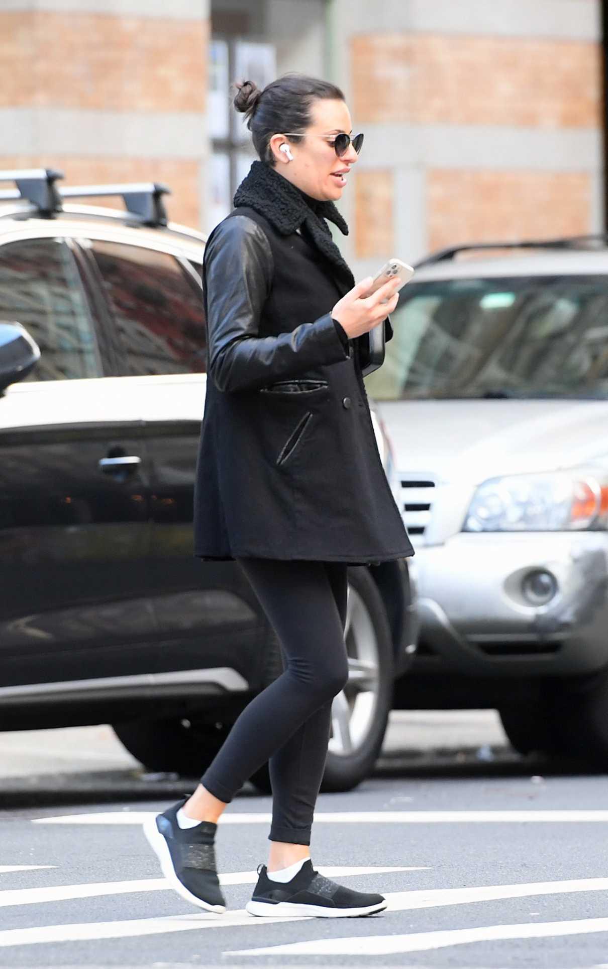 Lea Michele in a Black Jacket