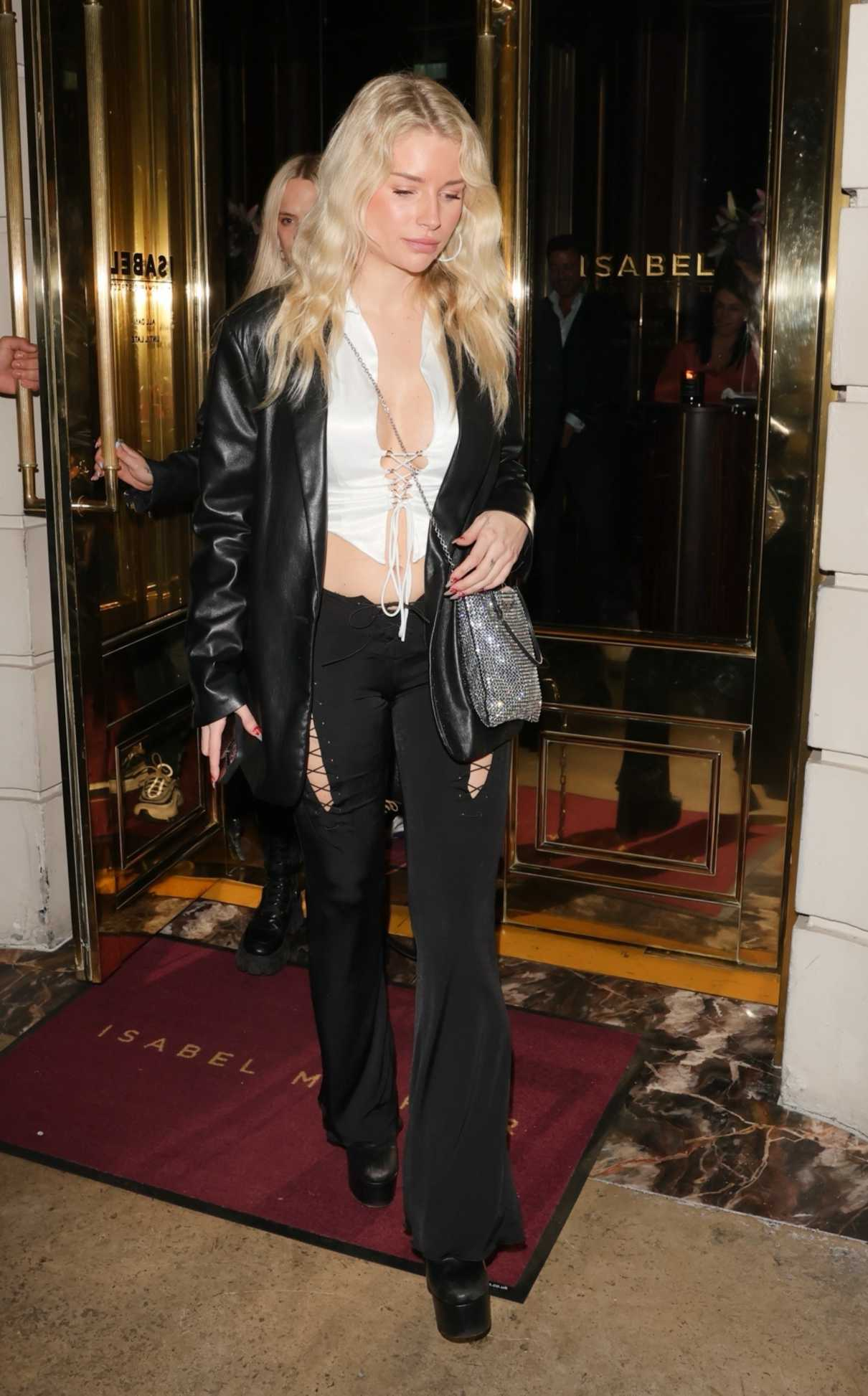 Lottie Moss in a Black Leather Blazer