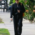 Lucy Hale in a Black Hoodie Exits a Nail Salon in Studio City 10/23/2021