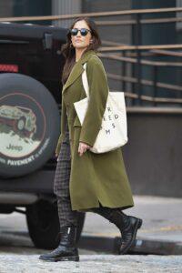 Minka Kelly in an Olive Coat