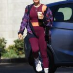 Vanessa Hudgens in a Purple Workout Ensemble Heads to the Gym in Los Angeles 10/12/2021
